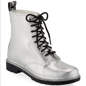 Michael Kors Tavie Metallic Combat Rain Boots Shoe